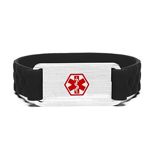 Medical Alert ID Bracelet Sports Silicone Wristband Stainless Steel Emergency ID Bangle Black,Free Engraving