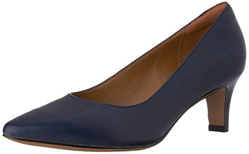 CLARKS Women's Crewso Wick Dress Pump, Navy Leather, 9.5 W US Navy Blue Leather Pumps