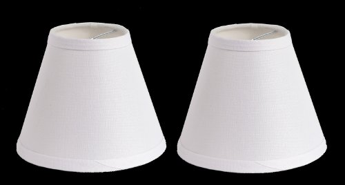 Urbanest 100% Linen Chandelier Lamp Shades, 6-inch, Hardback Clip On, White(set of 2) by Urbanest