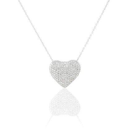 HISTOIRE D'OR - Collier Or Blanc C?ur et Diamants 42cm - Femme - Or blanc 375/1000 - Taille Unique