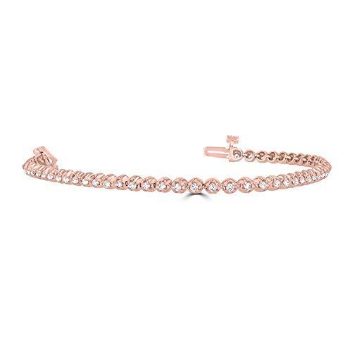 - Eleganti 14K Gold, IGL Certified Diamond Tennis Bracelets for Women in White Gold - 1, 3, 4, 5 Carat Natural Diamonds (Rose-Gold, 1)