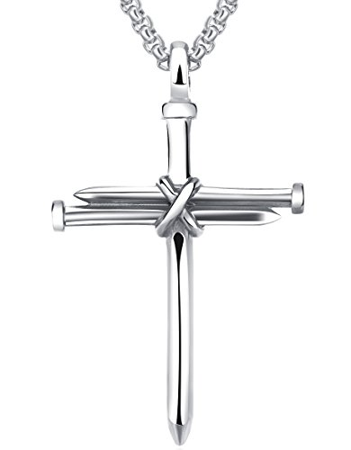 LineAve Men's Stainless Steel Nail and Rope Cross Pendant Necklace, Silver-Color, 3d0013