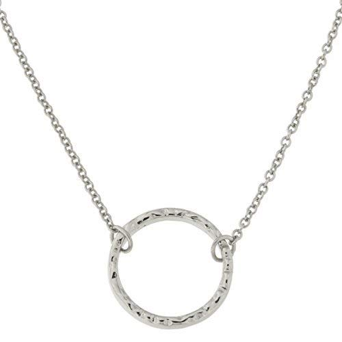 - Rhodium Plated Sterling Silver Hammered Open Circle Pendant Necklace, 16