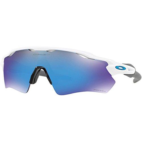 (Oakley Men's Radar Ev Path Non-Polarized Iridium Rectangular Sunglasses, Polished White, 0)