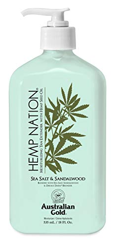 Hemp Nation SEA SALT & SANDALWOOD (18 fl. oz / 535 mL), Moisturizing Tan Extender with Hemp Seed Oil