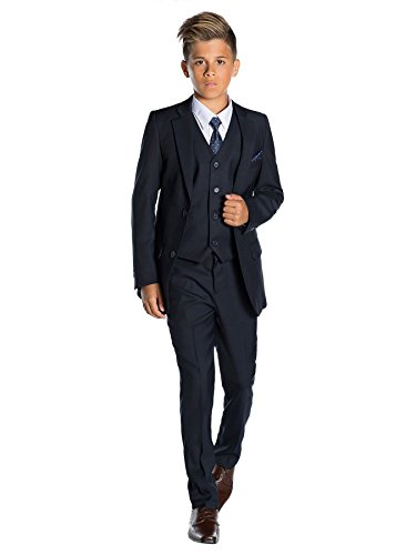 Italian Shirt Jacket - Paisley of London Boys Navy Ring Bearer Suit, 14