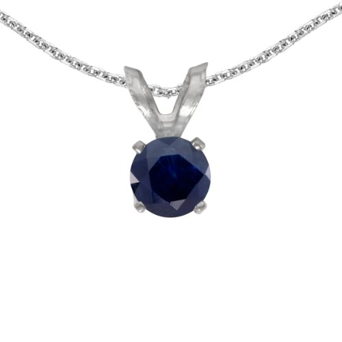 This 14k white gold round sapphire pendant features a 4 mm genuine natural sapphire with a 0.22 ct total weight. by sendmyjewelry