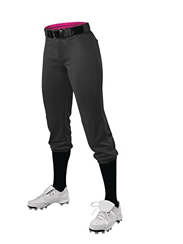 Alleson Athletic Girls Belted Speed Premium Fastpitch Pant, Black, Small