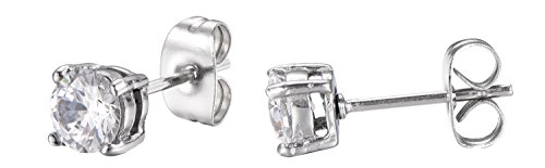 Stainless Steel Round Cut White Cubic Zirconia Stud Earrings With Push Backings -5mm- By Regetta Jewelry