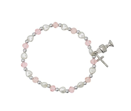 (Girl's First Communion Pink and White Stretch Bracelet with Heart Shaped Beads)