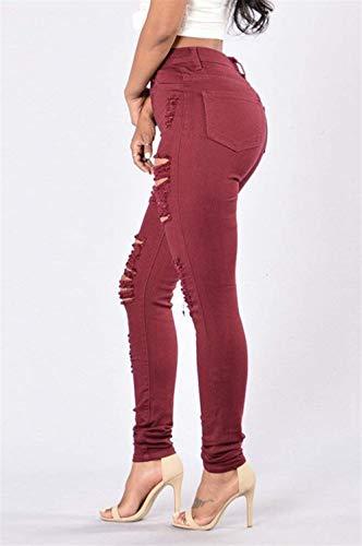 Haute Winered En Stretch Le Taille Breal Déchiré Des La Poches Boutonnées Pour Pantalon Denim À Unie Femmes Jeans Pantalons Skinny Sur Devant Couleur De 3T1lFKcJ