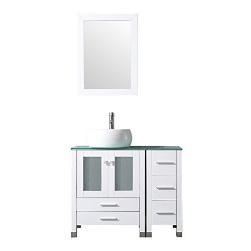 "Cheap BATHJOY 36"" White Bathroom Wood Vanity Cabinet Top Ceramic Vessel Sink Faucet Drain Combo wi..."