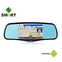 A1 IMirror 5'' Smart Android Rear View Mirror Quad Core with GPS Navigation,Dash Camera,WIFI,Back Up Camera,Bluetooth,1GB RAM 8GB ROM 32GB Card,Bracket #1 #3 #7 for Honda,Toyota,Ford,V.W.,Lexus,Mazda,and More