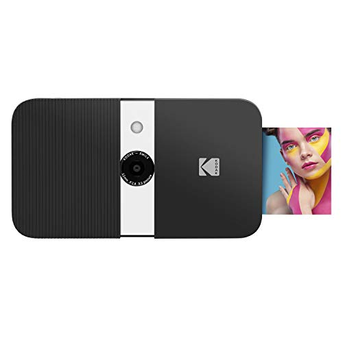 KODAK Smile Instant Print Digital Camera – Slide-Open 10MP Camera w/2×3 Zink Paper, Screen, Fixed Focus, Auto Flash & Photo Editing – Black/White