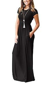 ZIKKER Women Short Sleeve Loose Plain Maxi Pockets Dresses Casual Long Dresses
