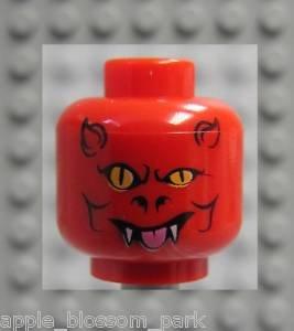 Lego Red Halloween Minifig Demon DEVIL HEAD w/fangs