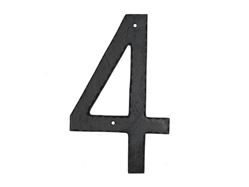 Montague Metal Products Textured Font Individual House Number, 4, (House Number Four)