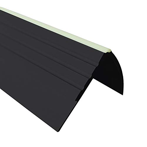 40x40mm schwarz 1.5 Meter Anti-Rutsch Treppenkantenprofil f/ür Treppenstufen Winkelprofil PVC Gummi RD