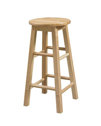 Linon Natural Barstool with Round Seat, 24-Inch (Stool Round Seat Bar)