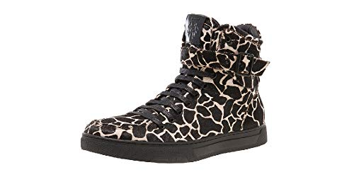 Jump Newyork Mens Sullivan Round Toe Hand-Painted Leather Lace-Up Inside Zipper and Strap High-Top Sneaker