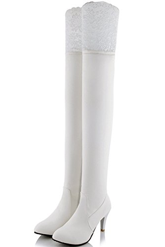 Zipper Winter BigTree Casual Thigh Lace Knee by High PU White High Autumn Boots The Over Heel Women Leather Boots HPH0qwA
