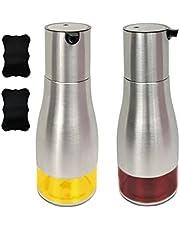 ibnBAQAR Oil Dispenser (2 Pack)   320ml; Olive Oil Dispenser   Olive Oil and Vinegar Dispenser Bottles   Cooking Oil Dispenser Cruet Stainless Steel & Glass bottle   Oil Dispenser Bottles for Kitchen