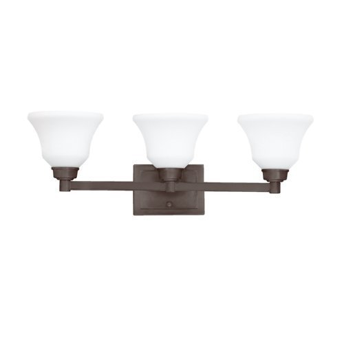 Kichler Lighting 5390OZ Langford 3-Light Vanity Fixture, Olde Bronze Finish with Etched Opal Glass by Kichler Lighting