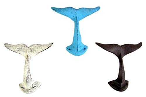 Primitive Blue, Grey, and White Cast Iron Whale Tail Wall Hooks, 5 Inches, Set of 3
