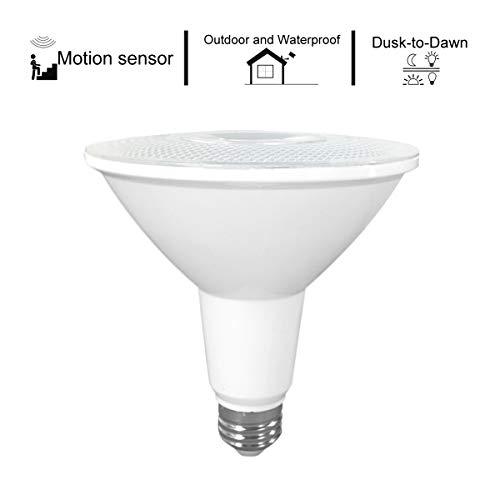 Microwave Radar Motion Sensor Actived & Dusk to Dawn PAR38 LED Flood Light Bulb, 26W (200-250W Equivalent), 3100lm, 5000K Cool White, 45 Degree Beam Angle, Medium Base(E26)-Indoor and Outdoor - Par38 Flood 250w