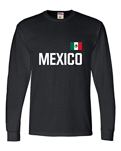Go All Out X-Large Black Adult Mexico Soccer Futbol Jersey Style Long Sleeve T-Shirt