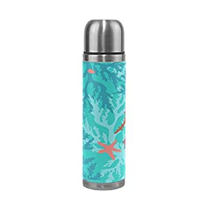 Jennifer Underwater Blue Corals And Starfish Pattern Leak Proof Water Bottle Insulated Vacuum Stainless Steel Thermos