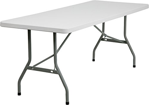 Free Flash Furniture RB-3072-GG 30-Inch Width by 72-Inch Length Granite Plastic Folding Table, Gray/White