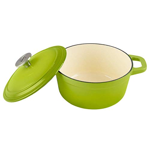 Zelancio Cookware 3-Quart Enameled Cast Iron Dutch Oven Cooking Dish with Lid, Green