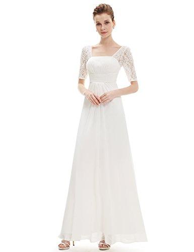 Ever-Pretty Womens Empire Waist Square Neck Half Sleeve Military Ball Dress 14 US White