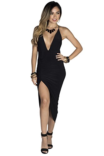 High Society Dress (Babe Society Women's Strappy Backless Midi Dress with Thigh High Slit Medium)