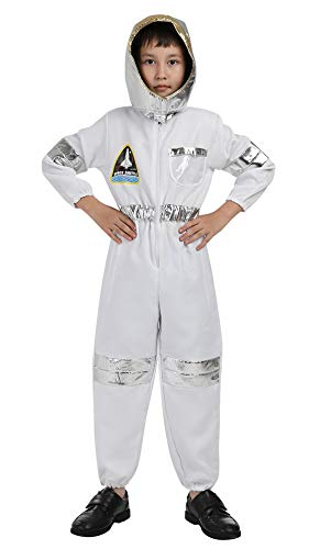 Famajia Children's Astronaut Costume Dress up Role Play Set for Kids Boys Girls with a Shiny Helmet White ()
