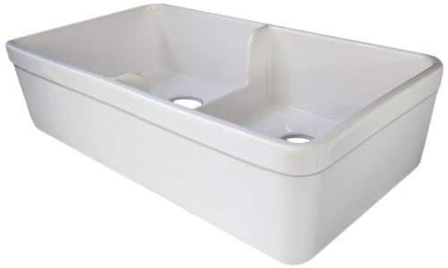 ALFI brand AB5123 32-Inch  Biscuit  Short Wall Double Bowl Fireclay Farmhouse Kitchen Sink with 1 3/4-Inch  Lip Double Bowl Fireclay Kitchen