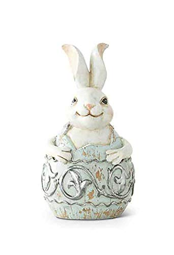 K&K Interiors Bunny Rabbit on Top a Light Blue and Silver Egg (5.5-Inch) ()