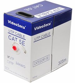VideoSecu 1000ft CAT5E Cable 4 Pair 24 AWG UTP WT UL Listed Pure Copper Ethernet Network Pure Copper Cable (Videosecu Av Video)