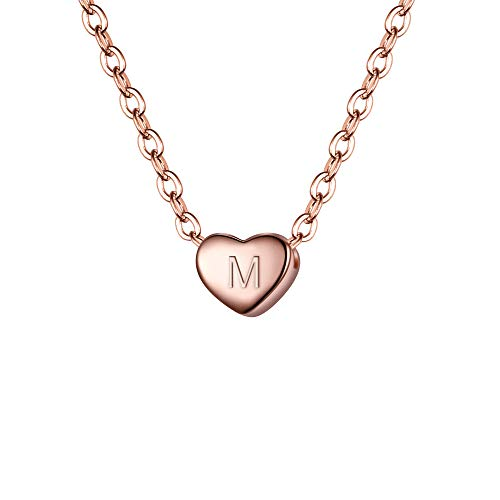 BriLove 925 Sterling Silver Tiny Initial Heart Necklace for Women Pendant Choker Necklace for Girls Letter M 14K Rose-Gold-Toned