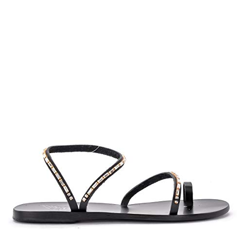 - Ancient Greek Sandals Women's Sandalo Apli Eleftheria Diamonds in Pelle Nera 38(IT)-8(US) Black