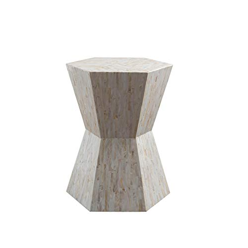 Abington Lane Mother of Pearl End Table/Night Stand - Unique Modern Hexagonal Top Perfect for Placing a Desk Lamp Great for Living Room/Bedroom Simple and Modern (Classic ()
