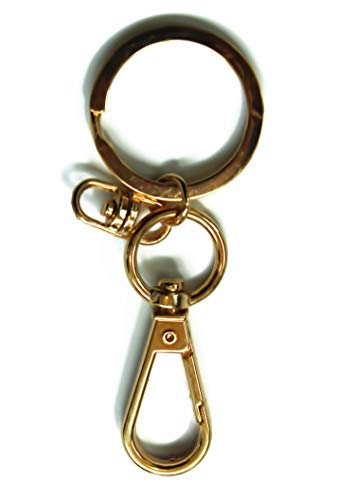 (ALL in ONE Flat Split Ring and Carabiner Clip with Buckle for Key Ring Keychain DIY Craft (Gold 10pcs))