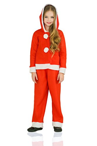 Kids Girls Miss Santa Claus Christmas Winter Costume Snow Hooded Suit Dress Up (6-8 years, Red)