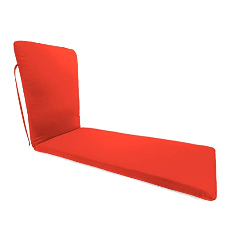 Plow & Hearth Classic Polyester Outdoor Chaise Cushion with Ties, 76'' x 23'' x 3'' hinged 47.5'' from Bottom - Coral