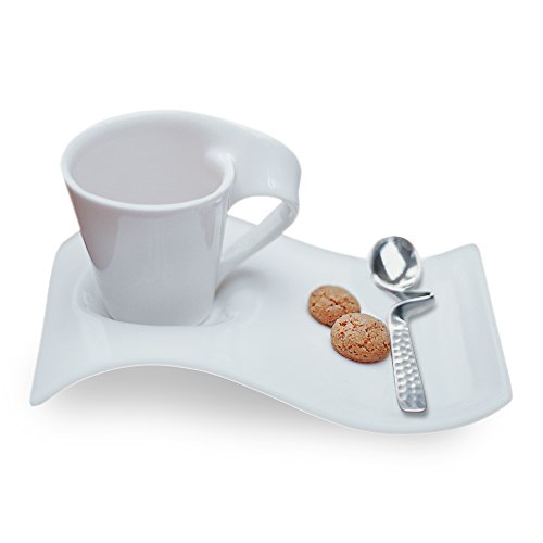 - Villeroy & Boch 1024847556 New Wave Espresso Cups, 8 inches, White