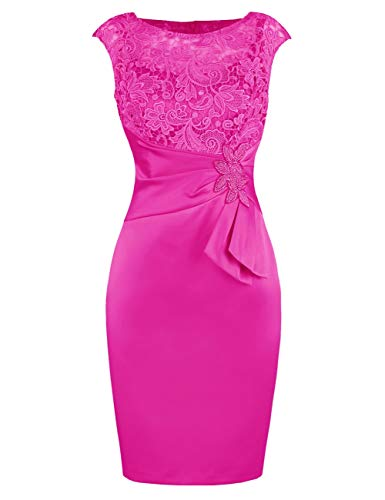 Dress Bride Bridal Sheath of Beaded Lace The Women's Bess Fuchsia Length Knee Mother PvHqSHxw