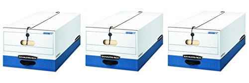 Bankers Box 0001203 LIBERTY Heavy-Duty Strength Storage Box, Legal, White/Blue (3 X Case of 4) by Bankers Box