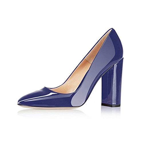 Fericzot Pumps Women Sexy Patent Leather Pointed Toe Block Heels Pumps Gorgeous Evening Party Wedding Stiletto Shoes Plus Size Blue 7.5M Dark Blue Patent Leather