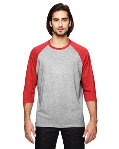 Anvil A6755 Adult Tri-Blend 3 By 4-Sleeve Raglan Tee - Heather Grey & Heather Red, XL (Blend Sleeve Raglan Tri)